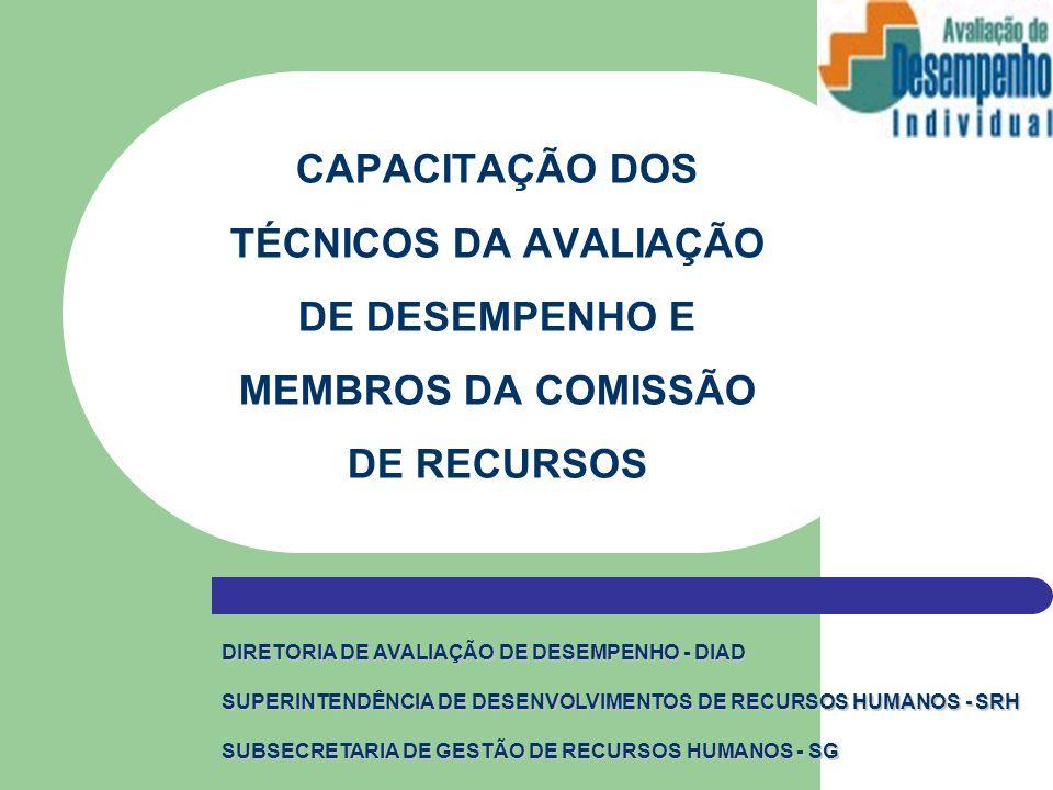 CAPACITAÇÃO DOS TÉCNICOS DA AVALIAÇÃO DE DESEMPENHO E MEMBROS DA COMISSÃO DE RECURSOS