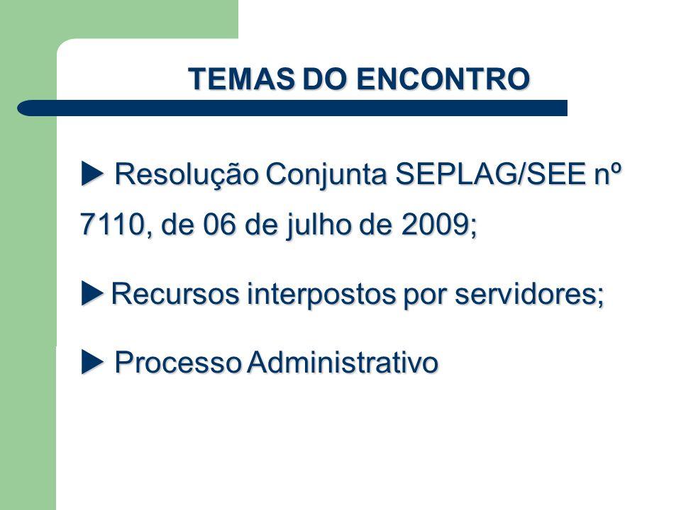TEMAS DO ENCONTRO  Resolução Conjunta SEPLAG/SEE nº 7110, de 06 de julho de 2009;  Recursos interpostos por servidores;