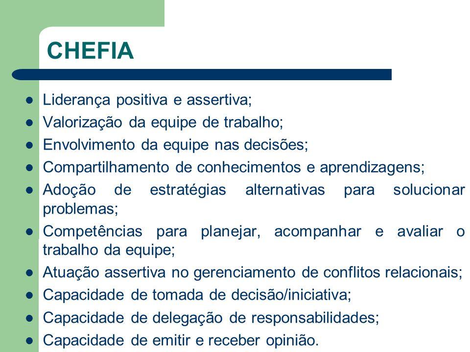 CHEFIA Liderança positiva e assertiva;