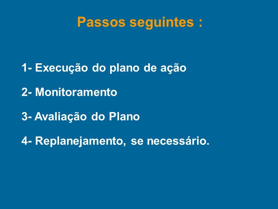 Passos seguintes : 1- Execução do plano de ação 2- Monitoramento