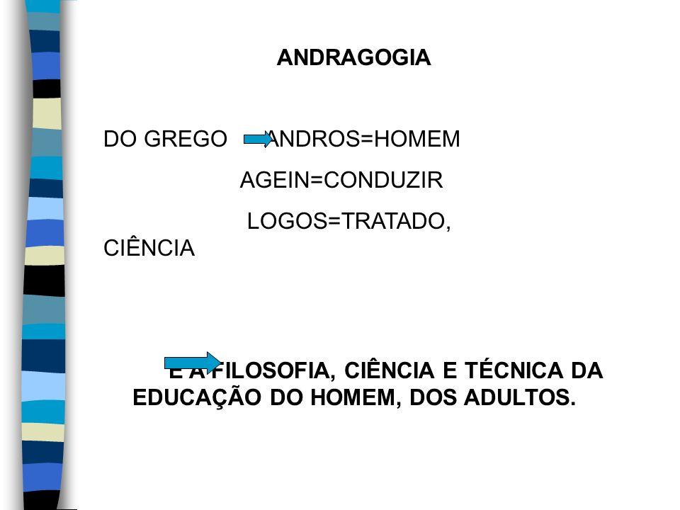 É A FILOSOFIA, CIÊNCIA E TÉCNICA DA EDUCAÇÃO DO HOMEM, DOS ADULTOS.