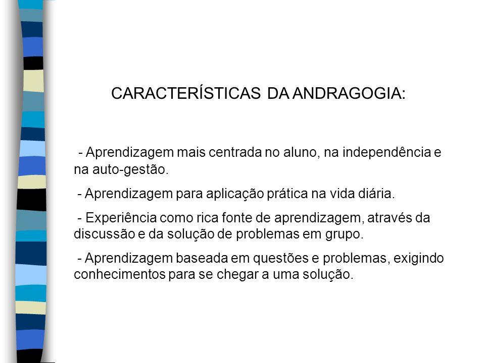 CARACTERÍSTICAS DA ANDRAGOGIA: