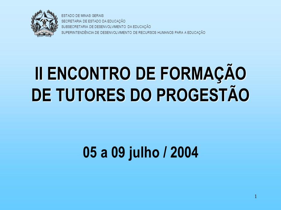 II ENCONTRO DE FORMAÇÃO DE TUTORES DO PROGESTÃO