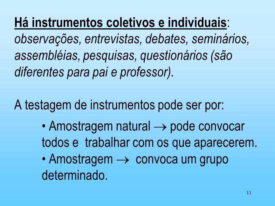 Há instrumentos coletivos e individuais: observações, entrevistas, debates, seminários, assembléias, pesquisas, questionários (são diferentes para pai e professor).