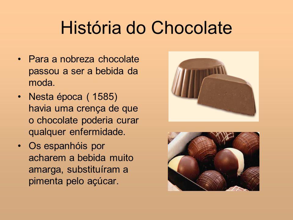 História do Chocolate Para a nobreza chocolate passou a ser a bebida da moda.