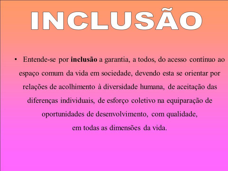 INCLUSÃO Entende-se por inclusão a garantia, a todos, do acesso contínuo ao. espaço comum da vida em sociedade, devendo esta se orientar por.