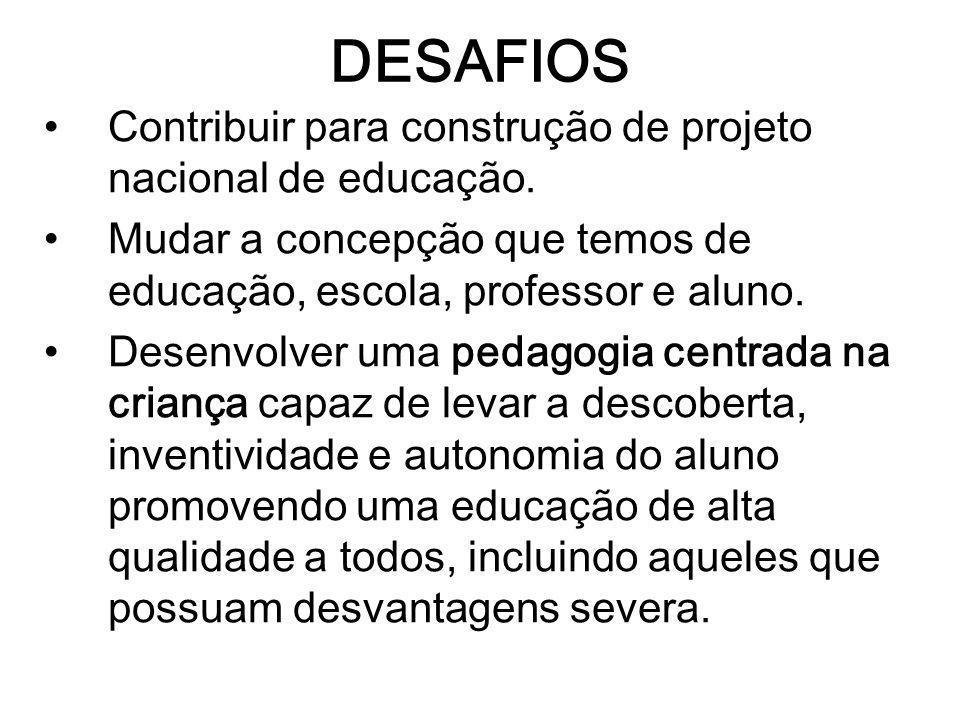 DESAFIOS Contribuir para construção de projeto nacional de educação.