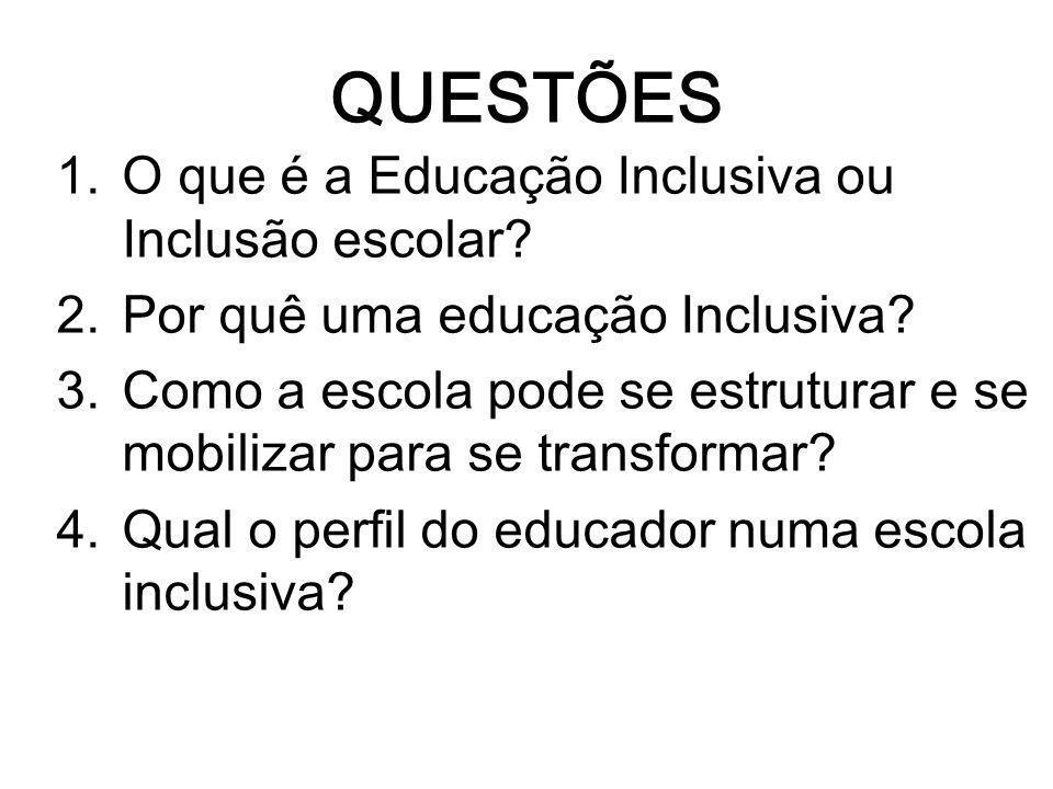 QUESTÕES O que é a Educação Inclusiva ou Inclusão escolar