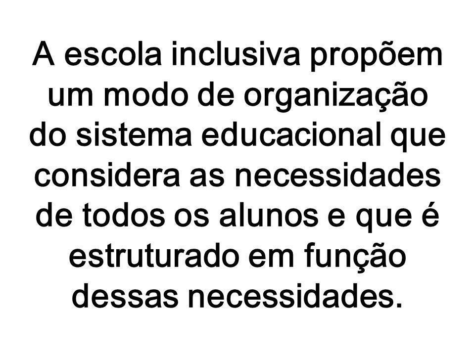 A escola inclusiva propõem um modo de organização do sistema educacional que considera as necessidades de todos os alunos e que é estruturado em função dessas necessidades.
