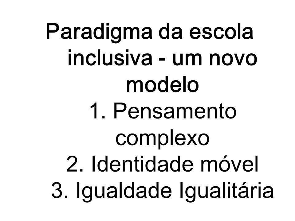 Paradigma da escola inclusiva - um novo modelo 1. Pensamento complexo 2.