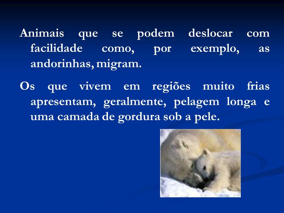 Animais que se podem deslocar com facilidade como, por exemplo, as andorinhas, migram.