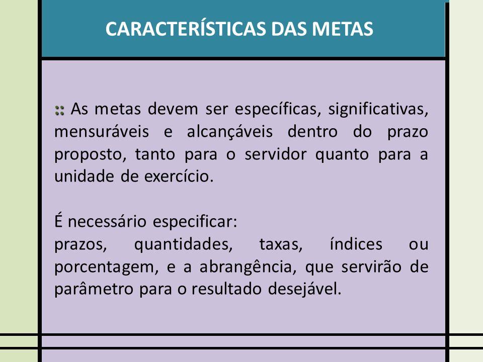 CARACTERÍSTICAS DAS METAS