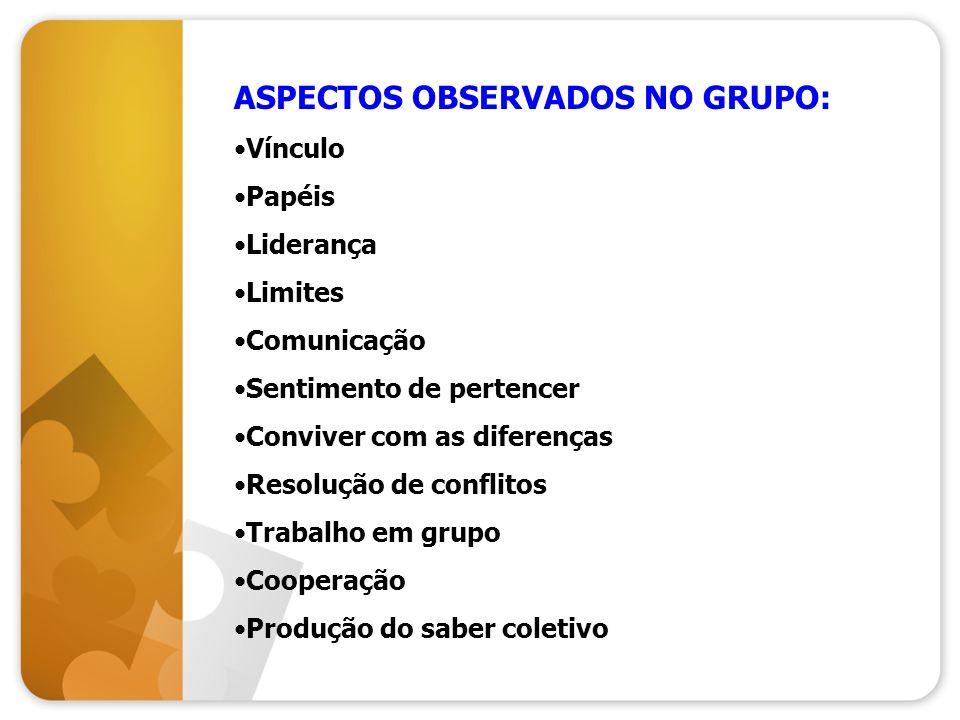 ASPECTOS OBSERVADOS NO GRUPO:
