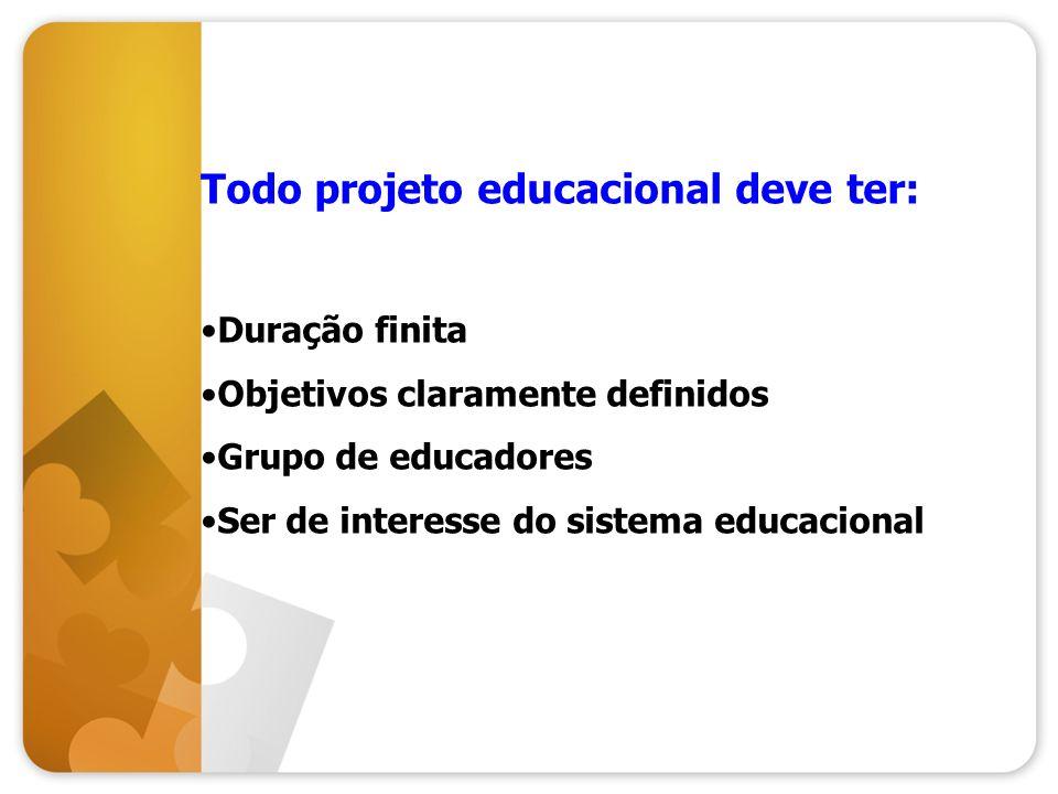 Todo projeto educacional deve ter: