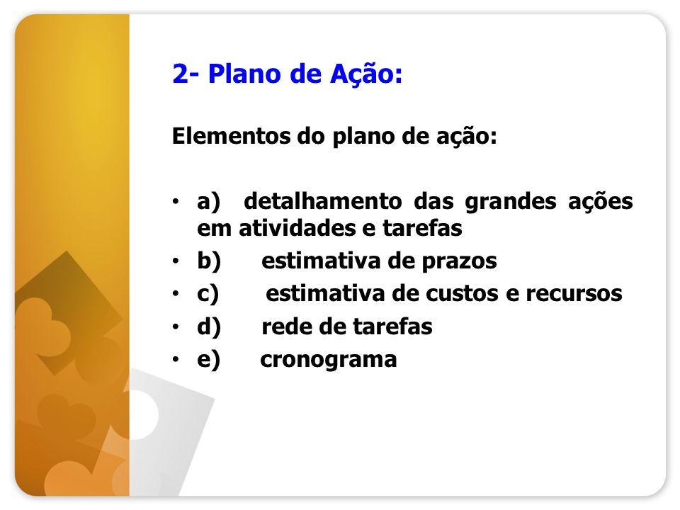 2- Plano de Ação: Elementos do plano de ação: