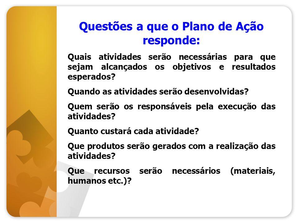 Questões a que o Plano de Ação responde: