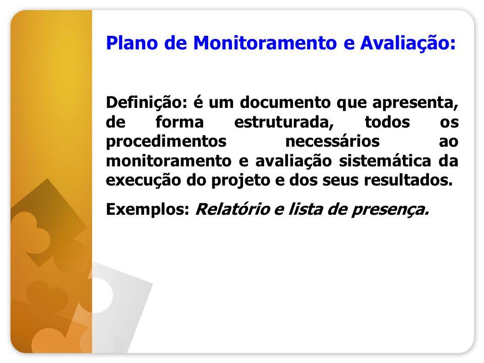 Plano de Monitoramento e Avaliação: