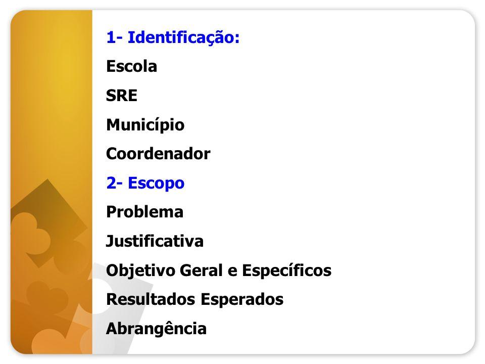 1- Identificação: Escola. SRE. Município. Coordenador. 2- Escopo. Problema. Justificativa. Objetivo Geral e Específicos.