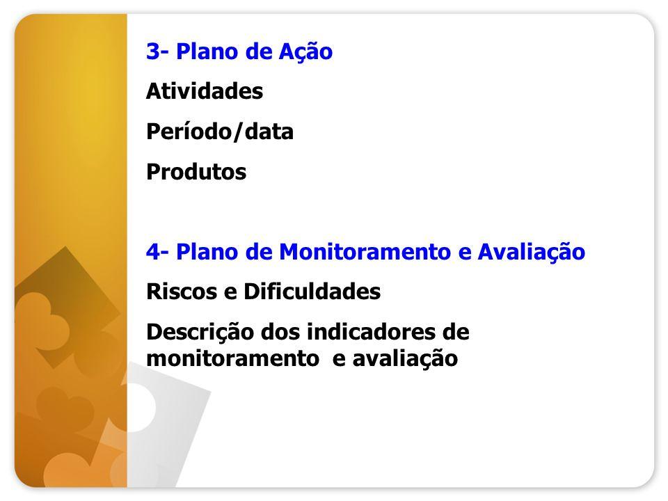 3- Plano de Ação Atividades. Período/data. Produtos. 4- Plano de Monitoramento e Avaliação. Riscos e Dificuldades.