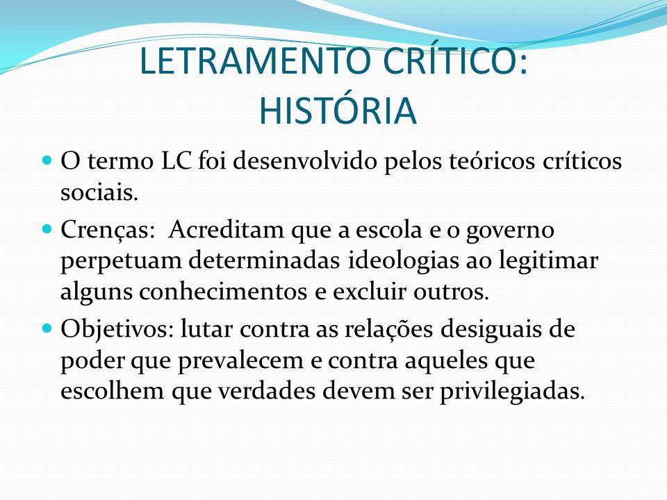 LETRAMENTO CRÍTICO: HISTÓRIA