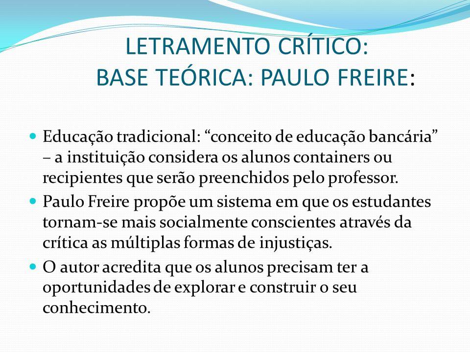 LETRAMENTO CRÍTICO: BASE TEÓRICA: PAULO FREIRE: