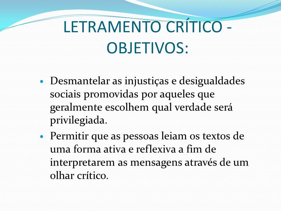 LETRAMENTO CRÍTICO - OBJETIVOS: