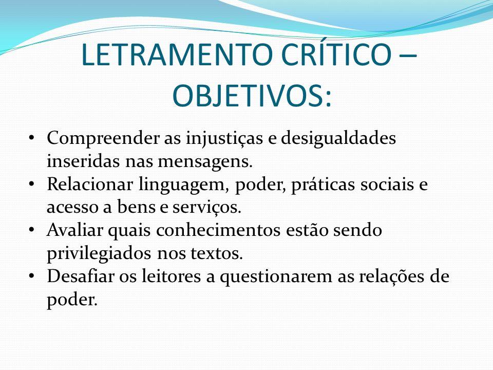LETRAMENTO CRÍTICO – OBJETIVOS: