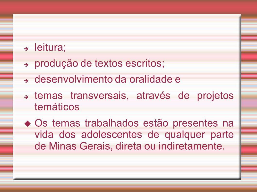 leitura; produção de textos escritos; desenvolvimento da oralidade e. temas transversais, através de projetos temáticos.
