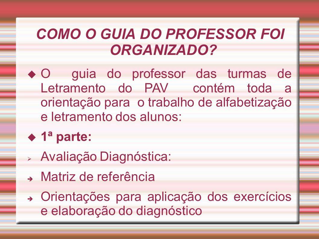COMO O GUIA DO PROFESSOR FOI ORGANIZADO