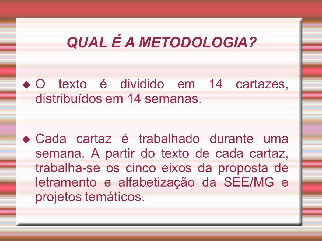 QUAL É A METODOLOGIA O texto é dividido em 14 cartazes, distribuídos em 14 semanas.