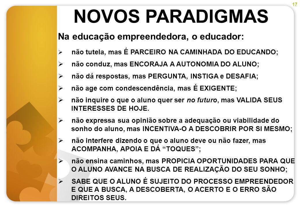 NOVOS PARADIGMAS Na educação empreendedora, o educador: