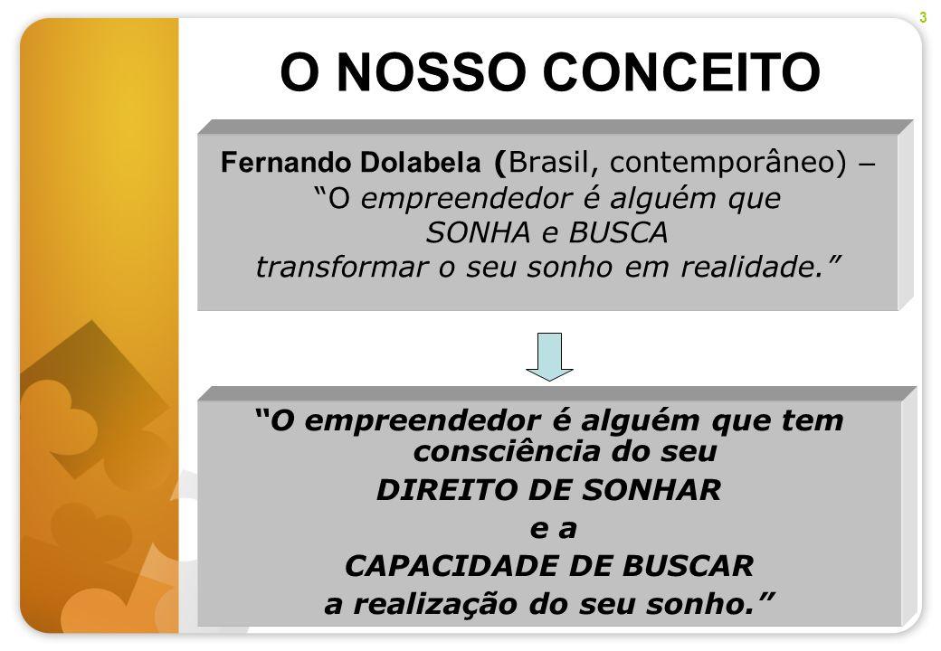 3O NOSSO CONCEITO. Fernando Dolabela (Brasil, contemporâneo) – O empreendedor é alguém que SONHA e BUSCA transformar o seu sonho em realidade.