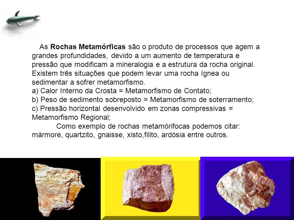 As Rochas Metamórficas são o produto de processos que agem a grandes profundidades, devido a um aumento de temperatura e pressão que modificam a mineralogia e a estrutura da rocha original.