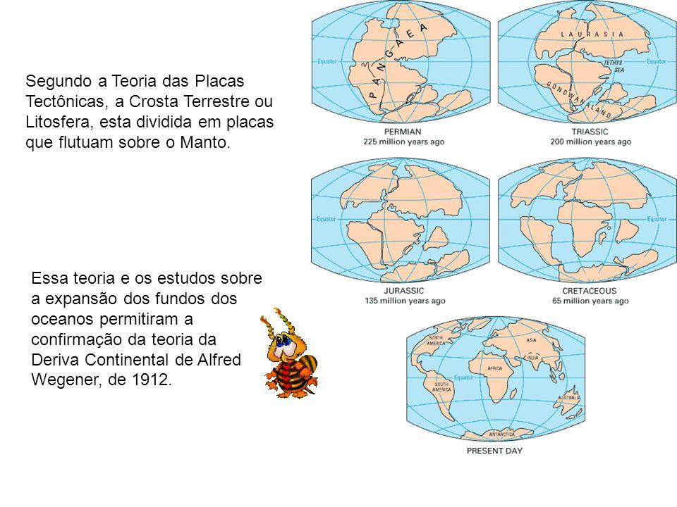 Segundo a Teoria das Placas Tectônicas, a Crosta Terrestre ou Litosfera, esta dividida em placas que flutuam sobre o Manto.
