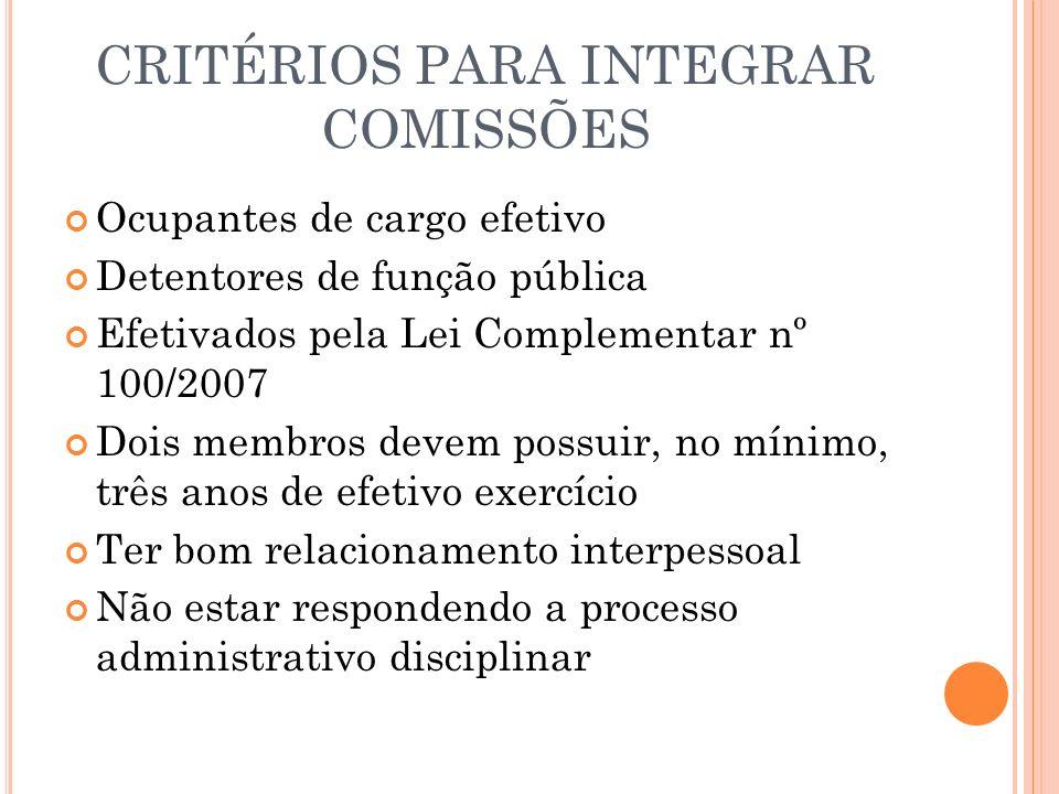 CRITÉRIOS PARA INTEGRAR COMISSÕES