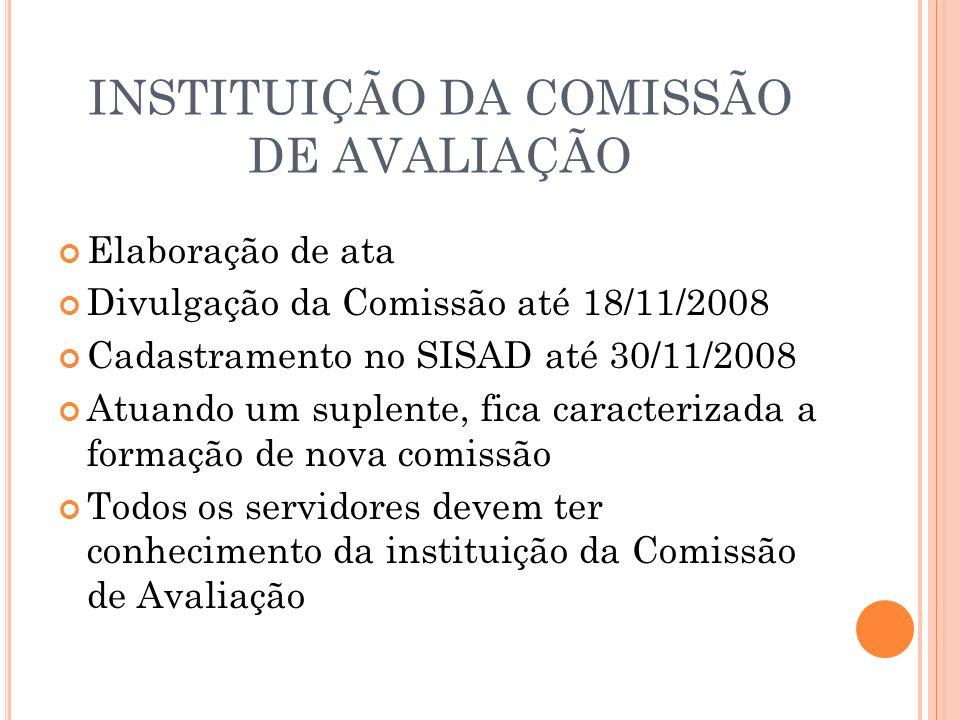 INSTITUIÇÃO DA COMISSÃO DE AVALIAÇÃO