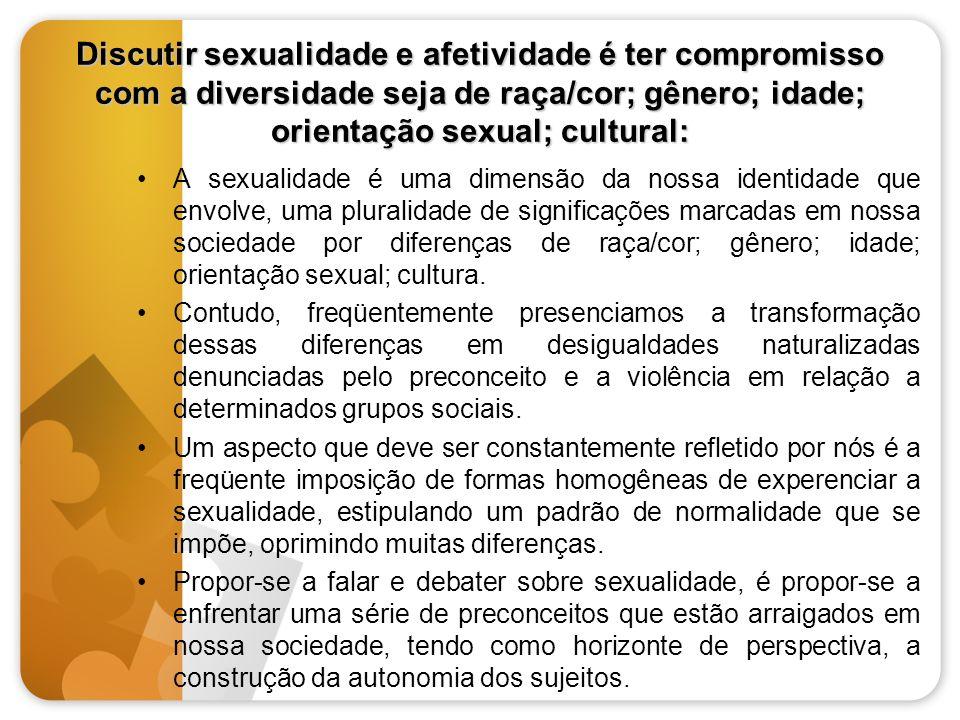 Discutir sexualidade e afetividade é ter compromisso com a diversidade seja de raça/cor; gênero; idade; orientação sexual; cultural: