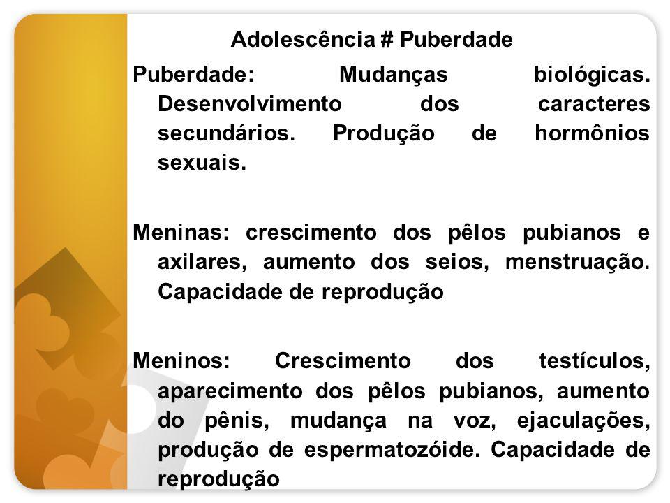 Adolescência # Puberdade Puberdade: Mudanças biológicas