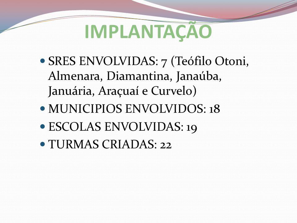 IMPLANTAÇÃOSRES ENVOLVIDAS: 7 (Teófilo Otoni, Almenara, Diamantina, Janaúba, Januária, Araçuaí e Curvelo)