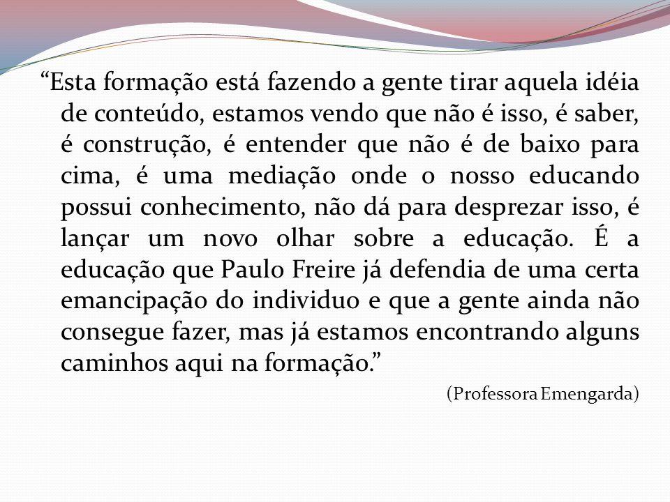 Esta formação está fazendo a gente tirar aquela idéia de conteúdo, estamos vendo que não é isso, é saber, é construção, é entender que não é de baixo para cima, é uma mediação onde o nosso educando possui conhecimento, não dá para desprezar isso, é lançar um novo olhar sobre a educação. É a educação que Paulo Freire já defendia de uma certa emancipação do individuo e que a gente ainda não consegue fazer, mas já estamos encontrando alguns caminhos aqui na formação.