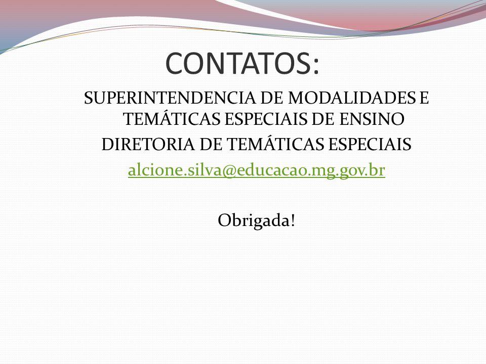 CONTATOS: SUPERINTENDENCIA DE MODALIDADES E TEMÁTICAS ESPECIAIS DE ENSINO. DIRETORIA DE TEMÁTICAS ESPECIAIS.