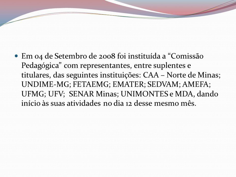 Em 04 de Setembro de 2008 foi instituída a Comissão Pedagógica com representantes, entre suplentes e titulares, das seguintes instituições: CAA – Norte de Minas; UNDIME-MG; FETAEMG; EMATER; SEDVAM; AMEFA; UFMG; UFV; SENAR Minas; UNIMONTES e MDA, dando início às suas atividades no dia 12 desse mesmo mês.