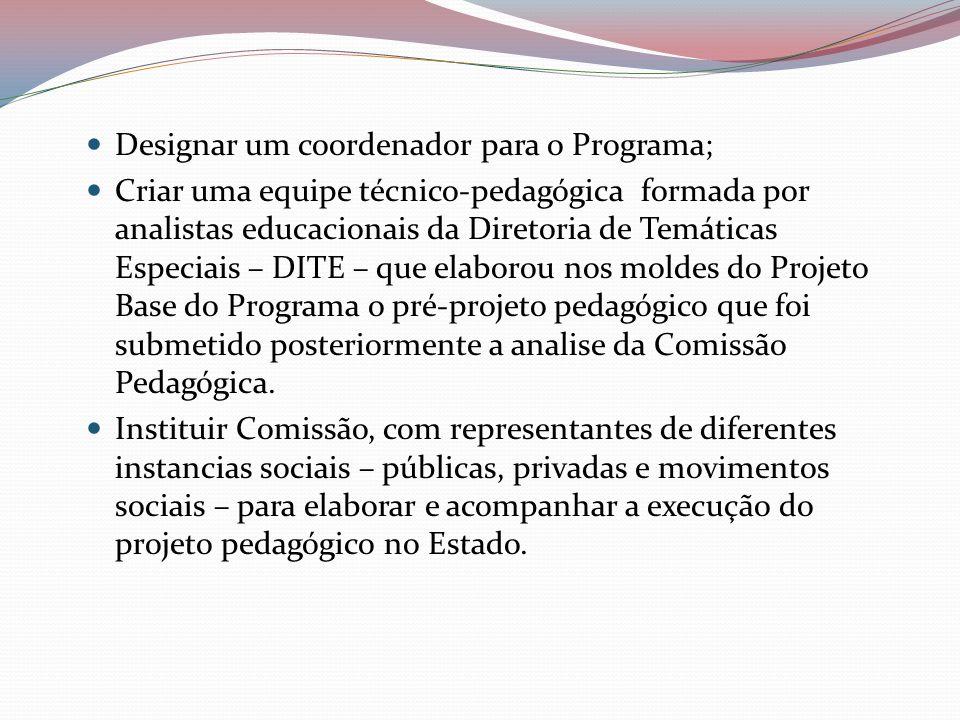 Designar um coordenador para o Programa;