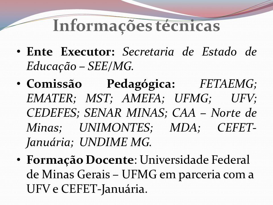 Informações técnicas Ente Executor: Secretaria de Estado de Educação – SEE/MG.