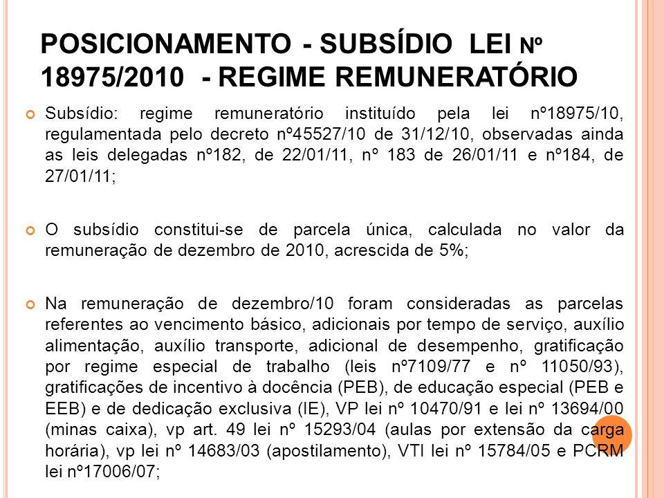 POSICIONAMENTO - SUBSÍDIO LEI nº 18975/2010 - REGIME REMUNERATÓRIO