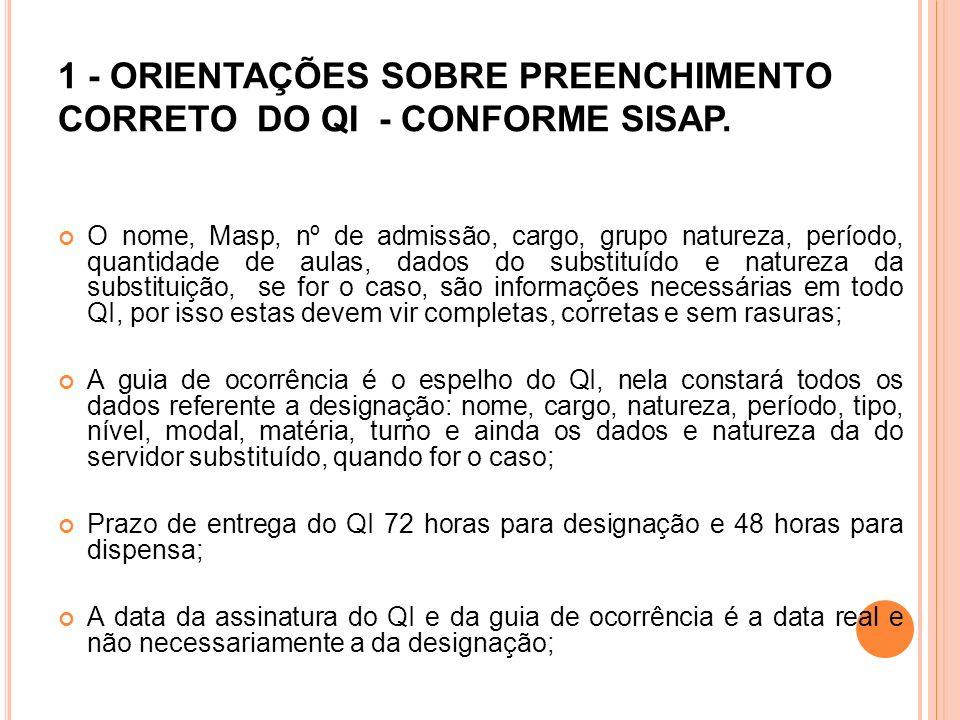 1 - ORIENTAÇÕES SOBRE PREENCHIMENTO CORRETO DO QI - CONFORME SISAP.
