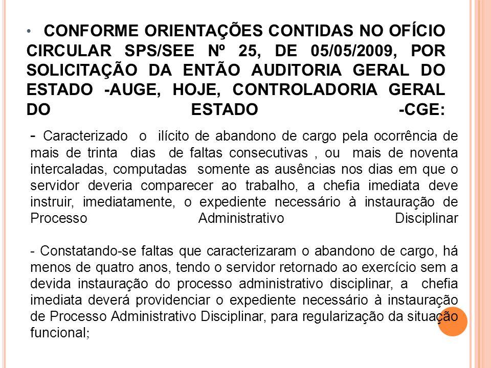 CONFORME ORIENTAÇÕES CONTIDAS NO OFÍCIO CIRCULAR SPS/SEE Nº 25, DE 05/05/2009, POR SOLICITAÇÃO DA ENTÃO AUDITORIA GERAL DO ESTADO -AUGE, HOJE, CONTROLADORIA GERAL DO ESTADO -CGE: