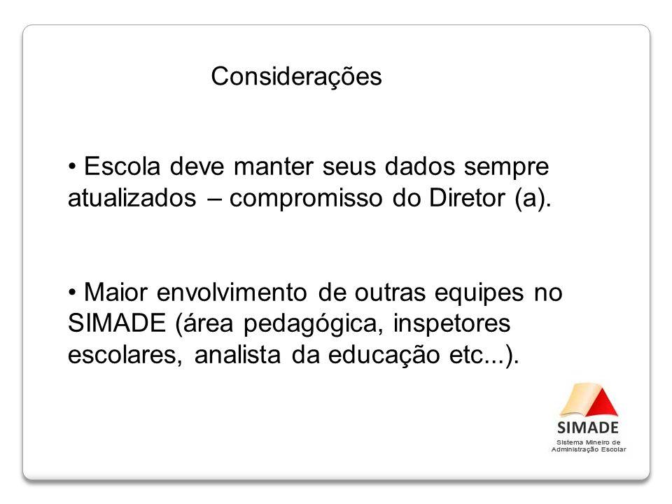 Considerações Escola deve manter seus dados sempre atualizados – compromisso do Diretor (a).