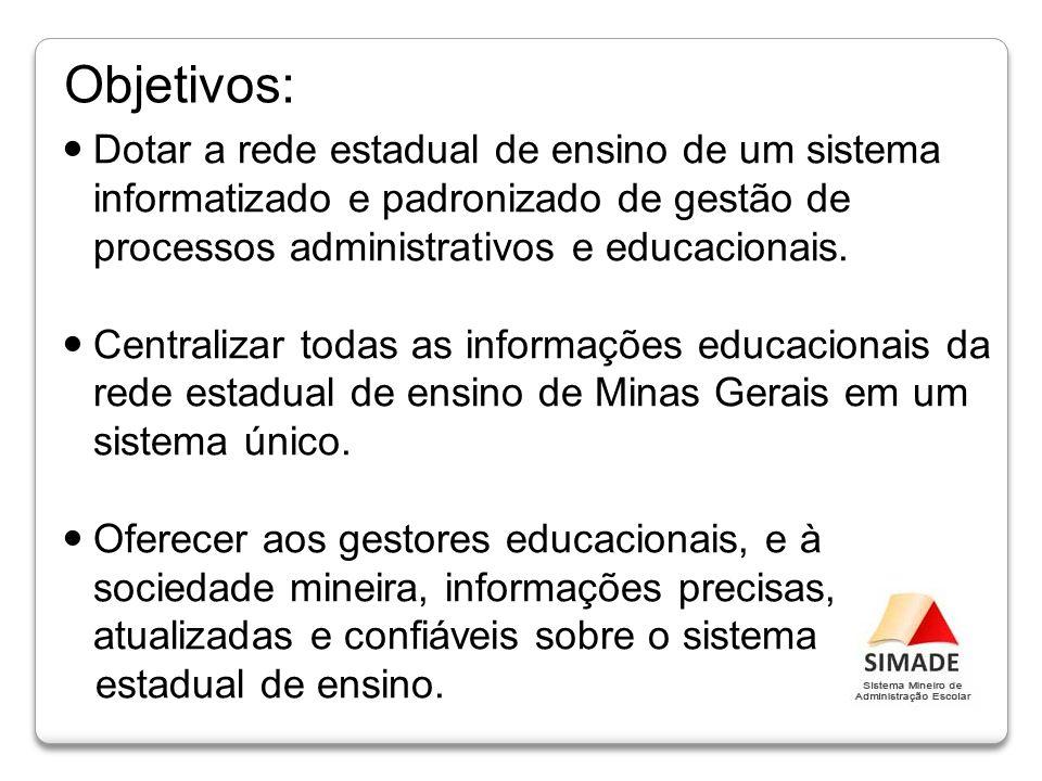 Objetivos: Dotar a rede estadual de ensino de um sistema informatizado e padronizado de gestão de processos administrativos e educacionais.