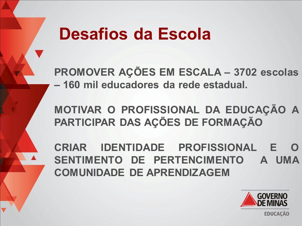 Desafios da Escola PROMOVER AÇÕES EM ESCALA – 3702 escolas – 160 mil educadores da rede estadual.